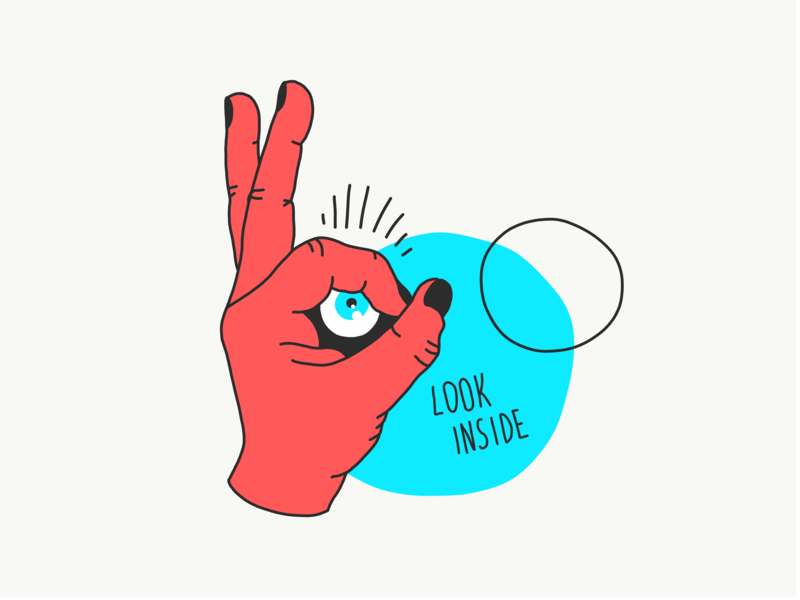 Look Inside eye red design ipadpro hand illustraor blue black freehand digital illustration vector