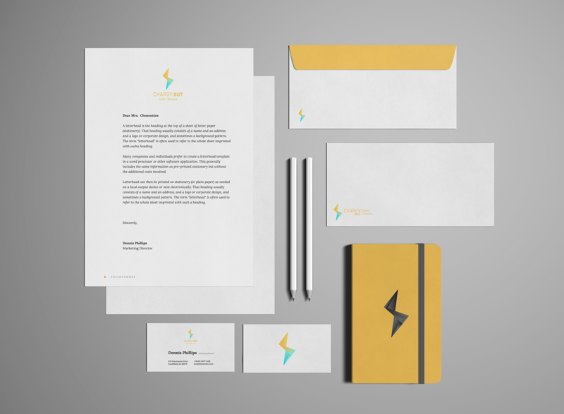 Chargy - Stationery visual identity logo mockup design