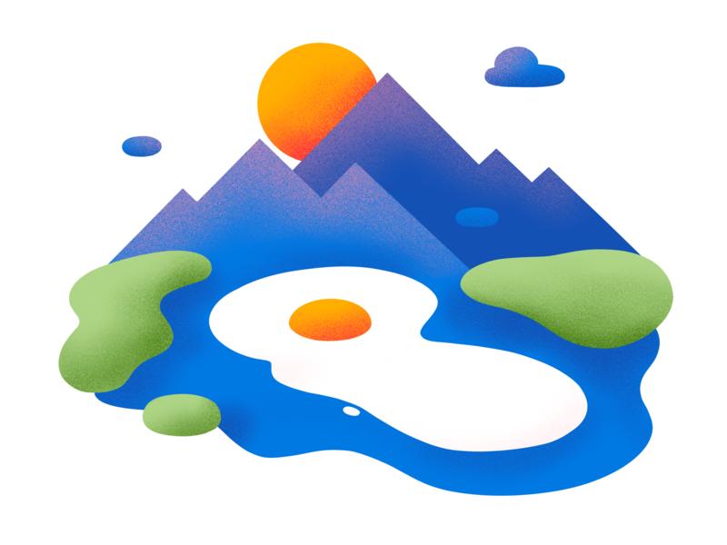 The Egg Lake colorful ipadpro procreate ipadproart illustration flat