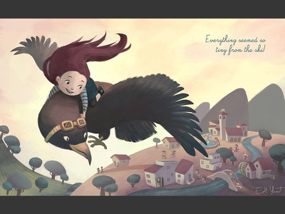 Child Flying By Evelt Yanait ridingbird flyingkid artforkids digitalart drawing childrensbook storybook childrensart childrensillustration