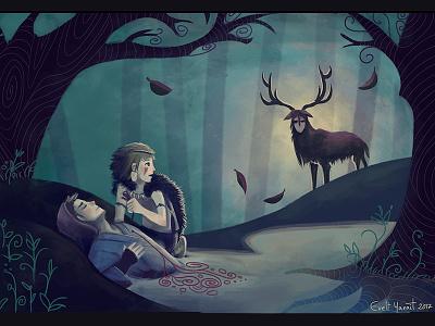 Mononoke Ghibli fanart By Evelt Yanait spiritoftheforest mononoke intothewoods ghibli fanart enchantedforest ashitaka