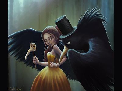 Lady And Crow By Evelt Yanait darkgirl digitalart whispers secrets masquerade ladycrow court