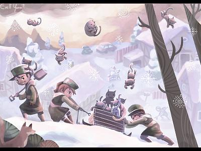 Raining Cats eveland childrensbooks childrensillustration kittens snow