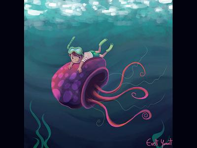 Jellyfish And Kid in the ocean artforkids childrensstorybook jellyfish
