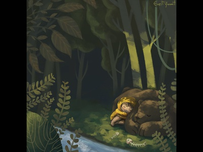 Child and bear on the forest