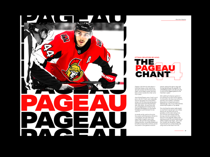 The Pageau Chant  - Editorial Spread nhl ice hockey hockey layout design layout spread editorial design editorial poster type typography art experiment graphic design illustrator design