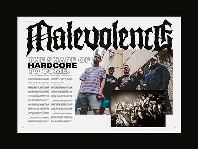 Malevolence - Editorial Spread hxc hardcore metal music layout design editorial art editorial layout editorial layout typography art experiment illustration graphic design design illustrator