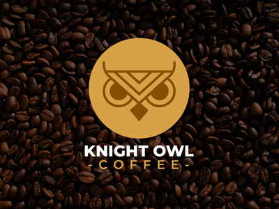 Knight Owl Coffee coffeeshop coffee cup coffee youtube illustration black white branding brand graphic design logos clean design logo