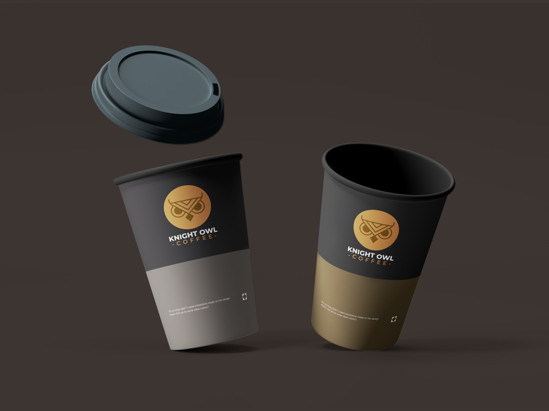 Knight Owl Coffee coffee bean coffeeshop coffee cup mockup brown coffee black white creative branding brand graphic design logos clean design logo