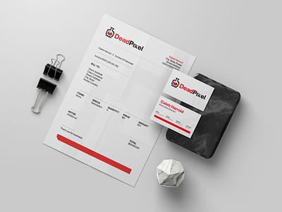 DeadPixel Invoice Template indesign minimalist creative gaming clean esports brand branding graphic design design invoice logo
