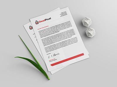 DeadPixel Letter Template indesign minimalist white creative gaming esports branding brand graphic design logos clean design logo
