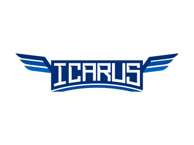 Icarus typography. white branding brand graphic design logos apex fortnite esportslogo faze optic streamer twitch gaming logo gaming esport esports logo esports design clean logo