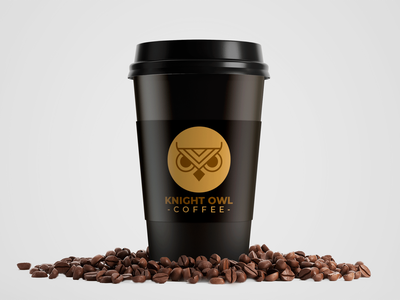 Knight Owl Coffee cup. streamer minimalist black selling twitch logo design professional marks gaming logo gaming original esports logo esports branding brand graphic design logos design clean logo