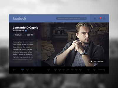 Facebook slovenia facebook redesign page dicaprio like transparent timeline web ui