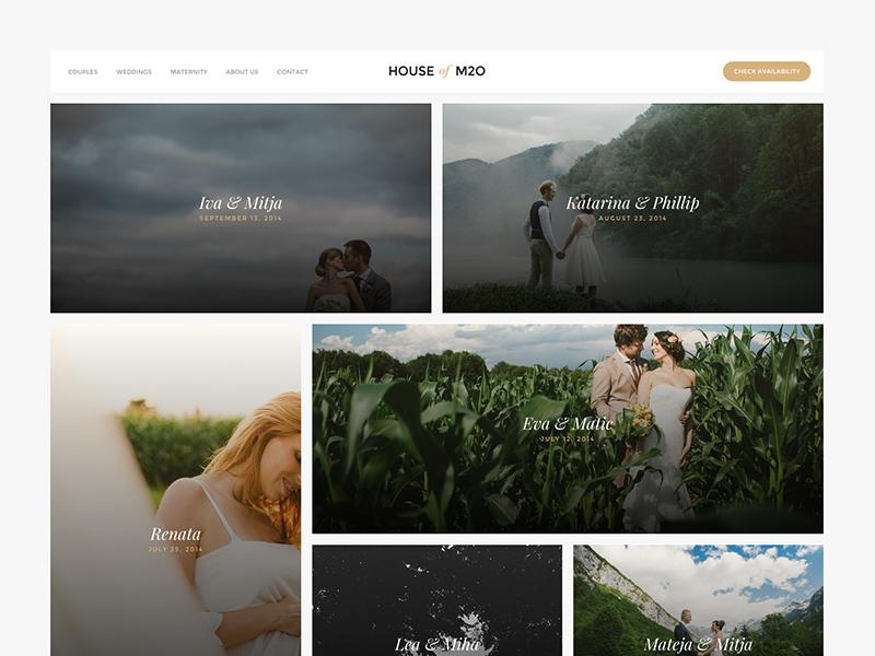 House of M2O website wedding photography minimalistic grid ui ux web