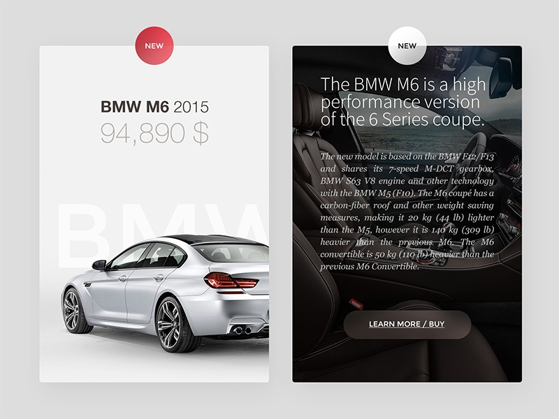 BMW Card bmw vehicle card ui ux web mobile typography