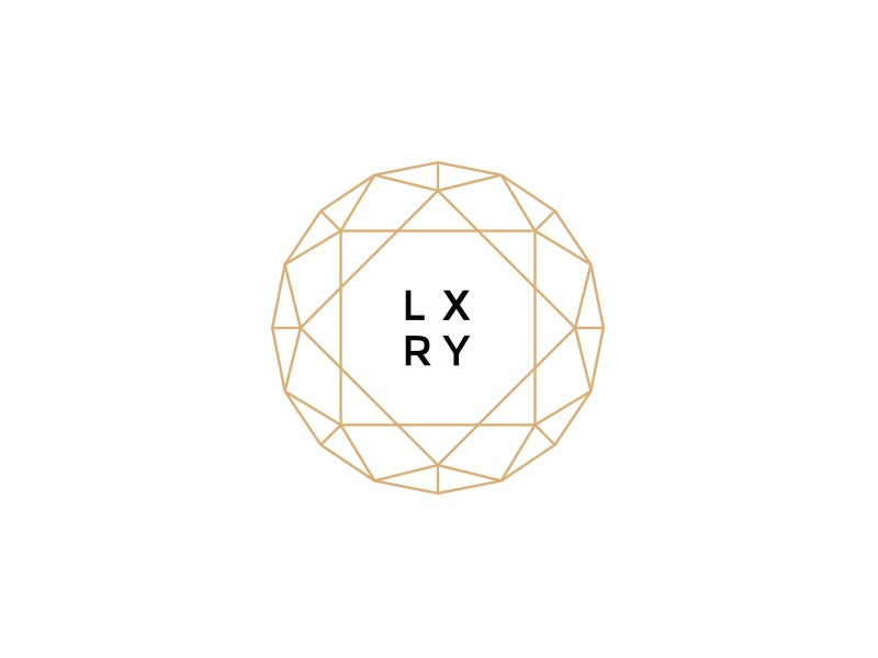 LXRY luxury branding logo diamond thin outline lines gold