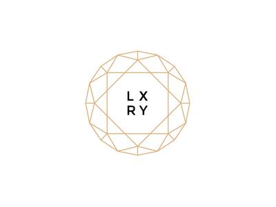 LXRY luxury branding logo diamond thin outline lines gold