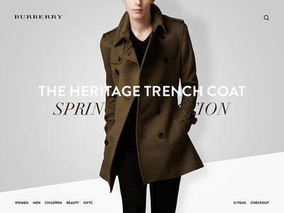 Burberry burberry web website fashion wear minimalistic modern flat layout macbook