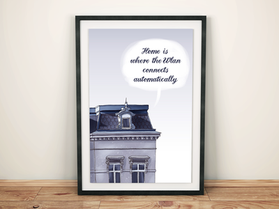 Home is where ... home blue quote wlan wifi illustration building house