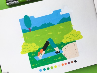 Inktober 2018 - Day 26 - Stretch molotow posca green outdoor fitness health park yoga inktober inktober2018