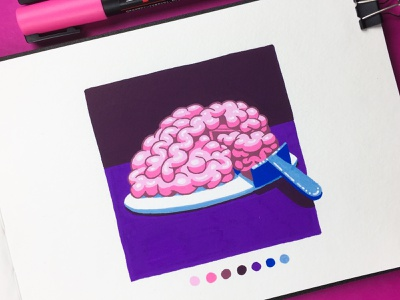 Inktober 2018 - Day 31 - Slice pink molotow posca cake slice brain inktober inktober2018