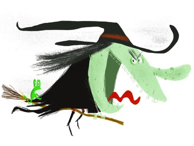 witch flying broom frog procreate humor monster cartoon humorous illustration illustration illustrator witch