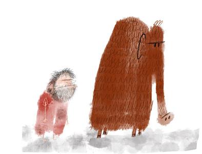 Woolly mammoth woolly caveman childrens illustration childrens books humorous illustration cartoon humor procreate illustration