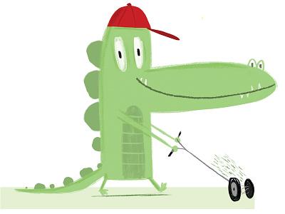 Lawn Gater lawnmower lawn aligator gator kidlitart book childrens photoshop illustrator illustration