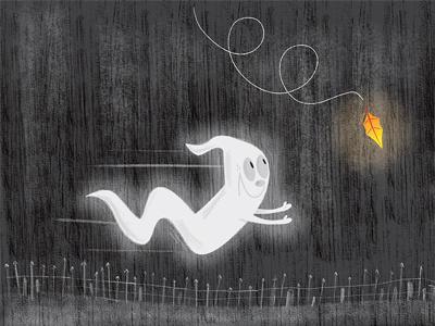 Fall Ghost halloween kidlitart fall leaf textures children illustration illustration photoshop illustrator ghost