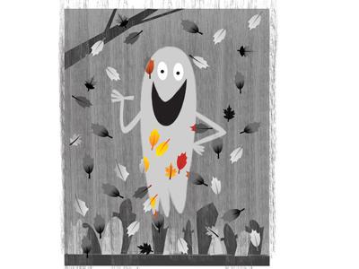 Gray Ghost childrensbooks kidlitart photoshop grayscale spooky graveyard halloween leaves fall illustration illustrator ghost