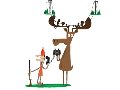 Moose telephonepoloe telephone phone photoshop hunter moose business businessmagazine illustration