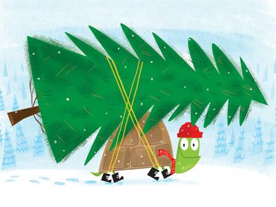 Turtle christmastree tree photoshop childrensbookillustrator kidlitart illustrator illustration turtle