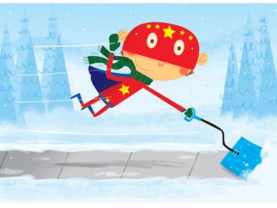 Super kid snow shoveling childrens book art shoveling snow kidlitart illustrator photoshop