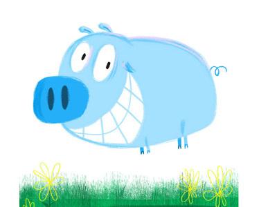 Happy as a Pig in Blue! blue childdrensbook childrensillustrator illustration photoshop pig