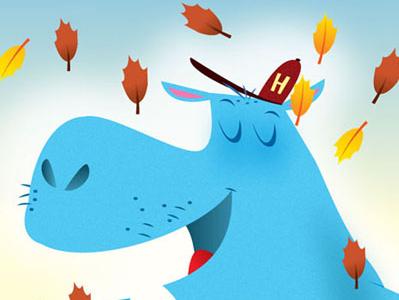 Hippofall illustration vector humor children humorous illustration animals books children books