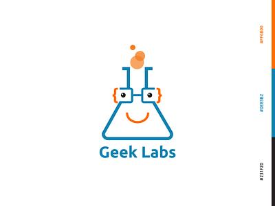 GeekLabs Logo new brand orange blue color illustrator logo design