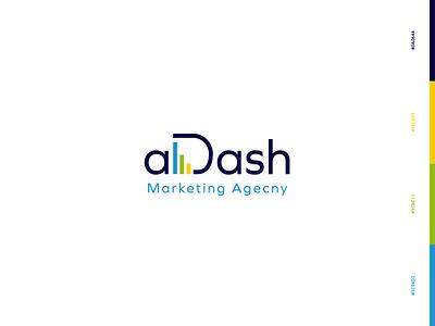 aDash Logo illustrator brand application data tech construction marketing agency modern flat logo design technology digital abstract