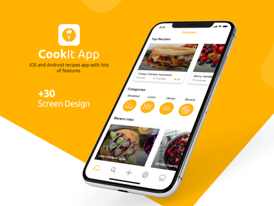 cookIt app design color flat vector adobexd adobe new recipe app food cook uxdesign uidesign uxui ux app design app