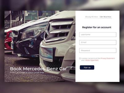 car website shot page typography ux car web ui signup login