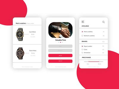 Ecommerce watch App ux ui watch typography ios app online buy