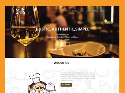 Restaurant landing page ux ui web design page landing restaurant bills