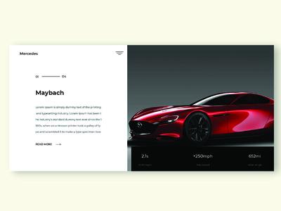 car design shot clean minimal typography website car ux ui