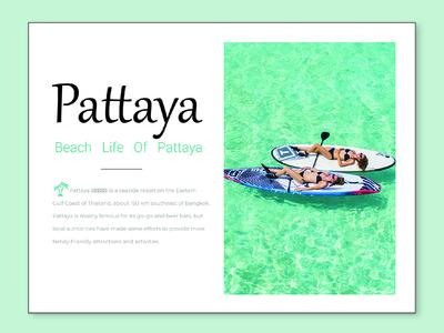 Beach life of pattaya tourist beach clean minimal typography website pattaya ux ui