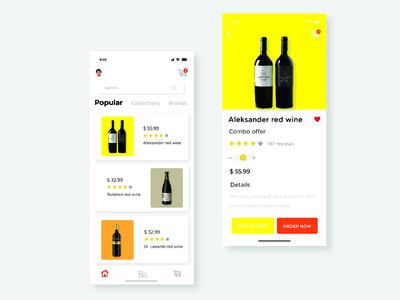 ecommerce app minimal clean online buy design app ui wine red