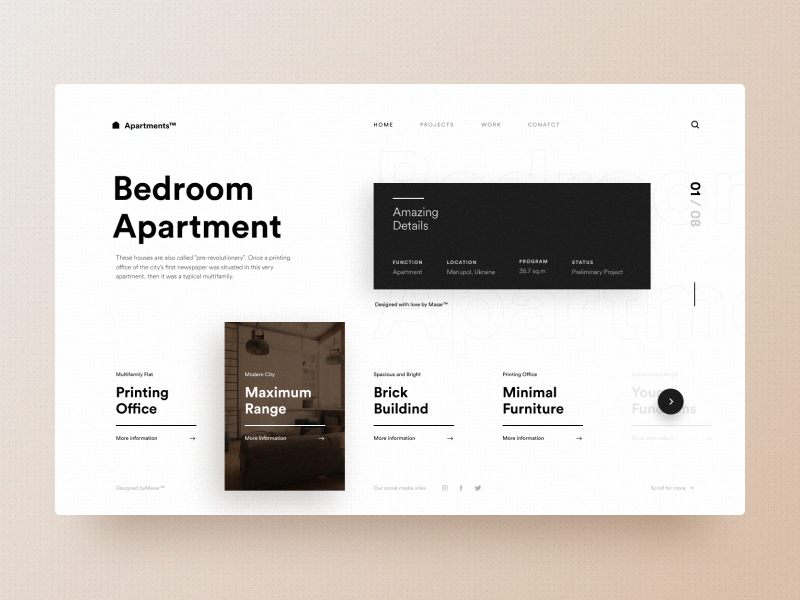 Typography UI — Project 74 ux designer minimal minimalistic clean web design website page webpage webdesign landing page interface uiwebdesign userinterface design uidesign web typography layout ui