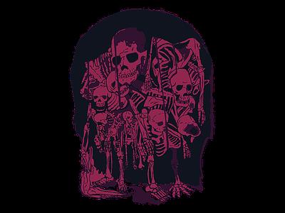 Skellynito vector art cool skeletons illustration logo