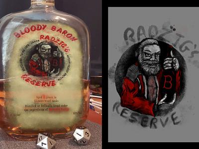 Radzig's Reserve label mockup alcohol illustration