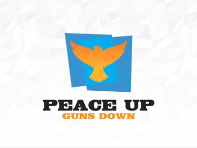 Peace Up  Guns Down eagle falcon bird guns peace graphic design identity branding brand logo