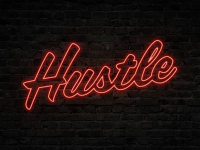 Neon Hustle color typography script photoshop neon